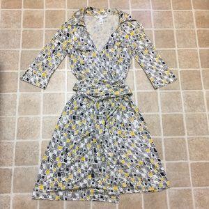 "Yellow & Black Patterned DVF ""Denise"" Wrap Dress"